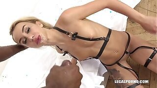 Bi-racial hardcore foursome displays slut Katrin Tequila fuck 3 black dicks