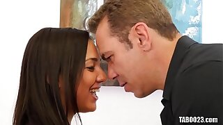 Amara Romani's tight pussy filled with an older dick