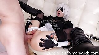 2B ANAL and pussy pummel with Creampie Teen young First-timer Giant Ass Doggy Semen Sperm cute nymph babe Purple Bitch Suck Dick