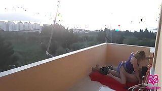 Couple gets fucked on the hotel balcony